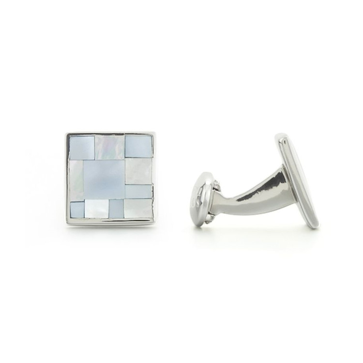 'Square Tile' Mother of Pearl and Sterling Silver Cufflinks by Robert Talbott