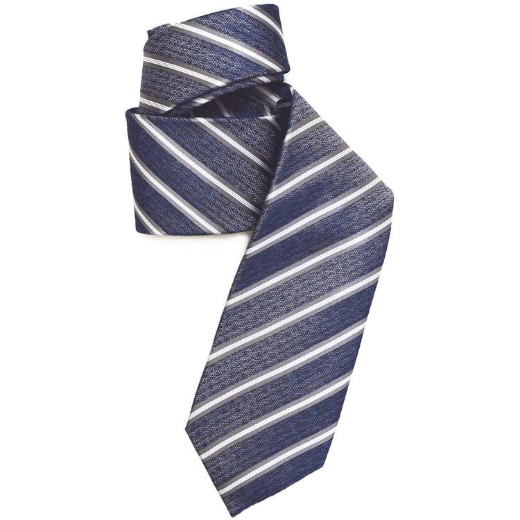 Navy and Grey Stripe Woven Silk Tie by Robert Jensen