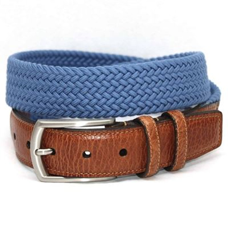 Italian Woven Cotton Elastic Belt in Royal Blue by Torino Leather Co.