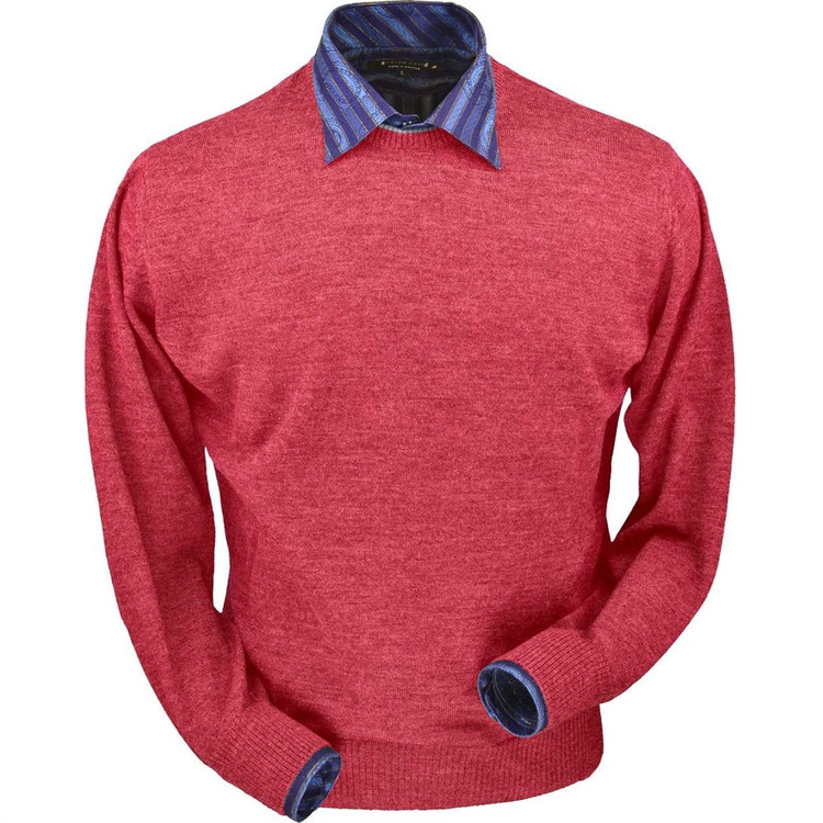 Royal Alpaca Crew Neck Sweater in Red Coral Heather by Peru Unlimited