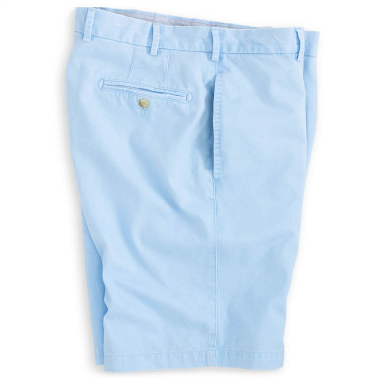 'Winston' Washed Twill Flat Front Short in Tarheel Blue by Peter Millar