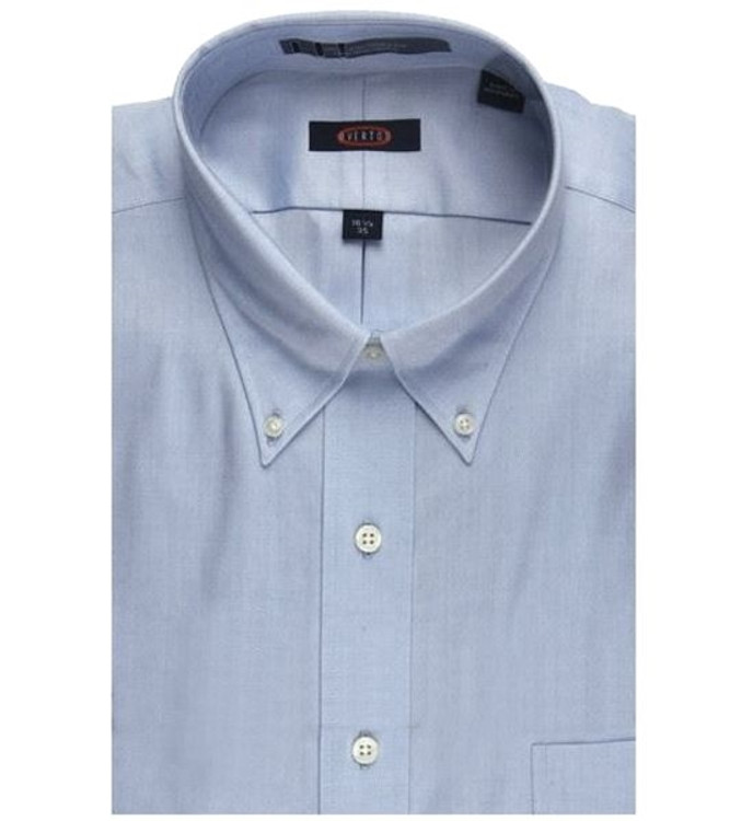 "80's 2-Ply Pinpoint Button-Down ""Road Warrior"" Wrinkle Free Dress Shirt in Blue (Size 16 - 35) by Overton"