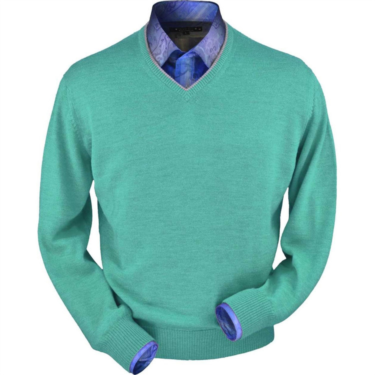 Royal Alpaca V-Neck Sweater in Aqua Heather by Peru Unlimited