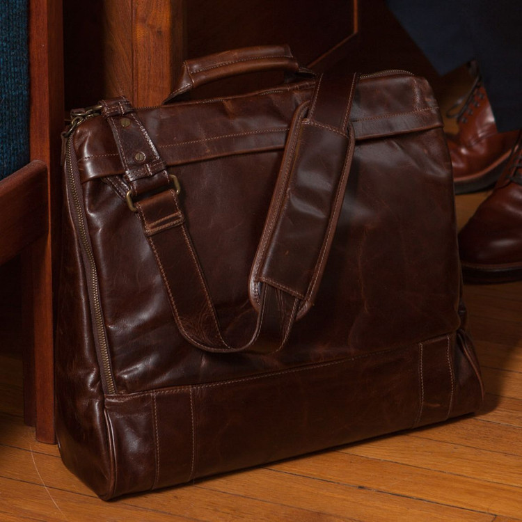 Canady Haversack in Brompton Brown by Moore & Giles