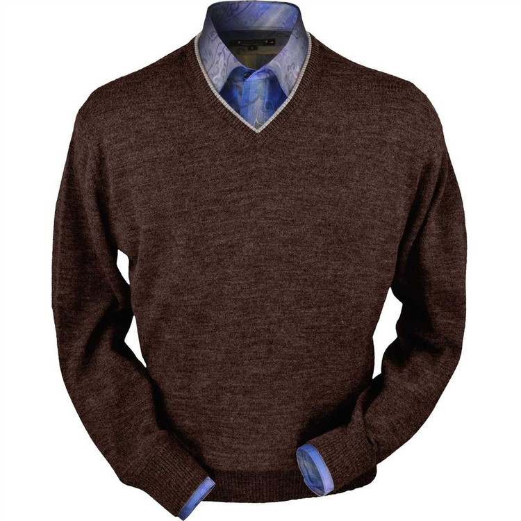 Royal Alpaca V-Neck Sweater in Chocolate Heather by Peru Unlimited