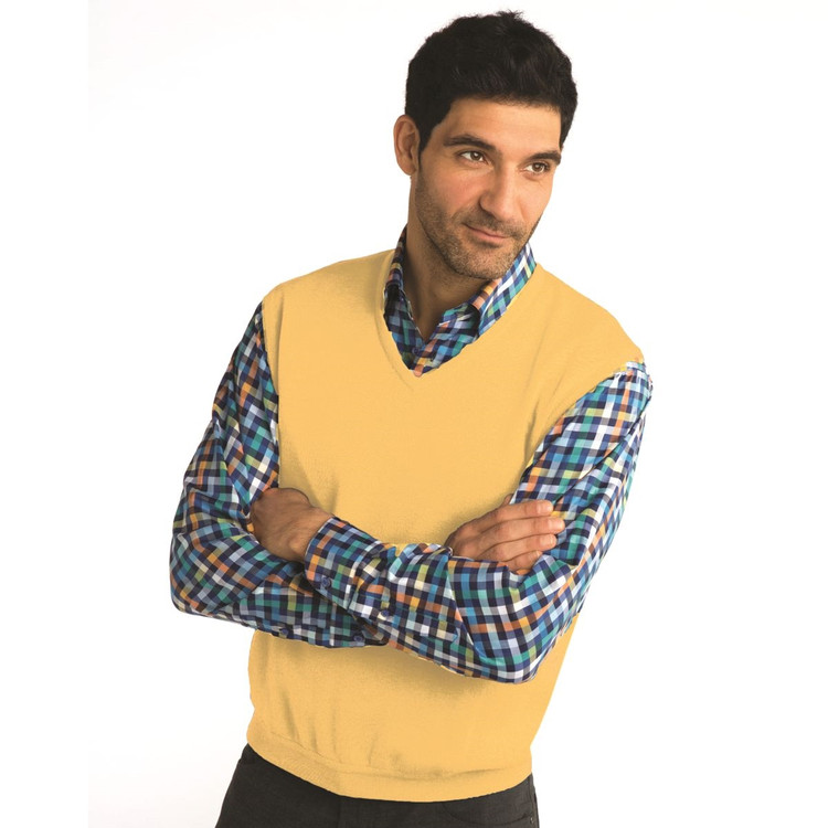 Classic Merino Wool Pullover Vest in Maize by St. Croix