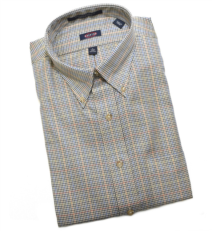 Tan, Blue, Green, and Maize Check Button-Down Wrinkle Free Sport Shirt (Size Large) by Overton