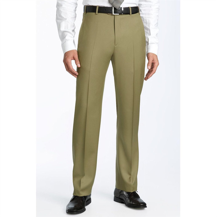 'Todd' 110's Wool Twill Flat Front Pant in Taupe by Zanella