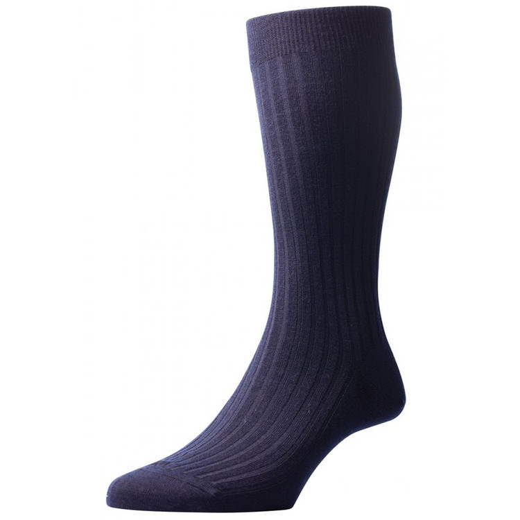 Laburnum - 5x3 Rib Merino Wool Sock in Navy (3 Pair) by Pantherella