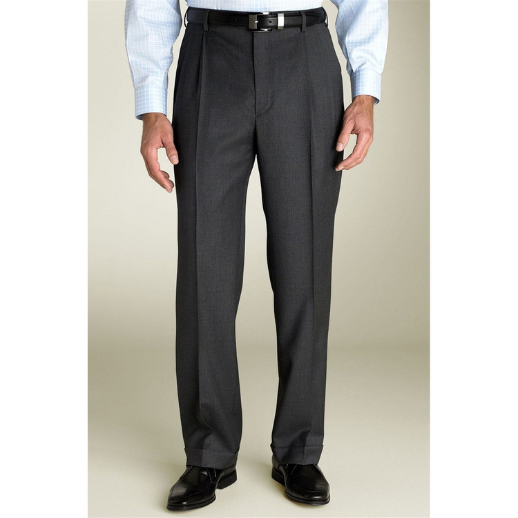 'Bennett' Double Reverse Pleat Super 120's Wool Serge Pant in Charcoal by Zanella