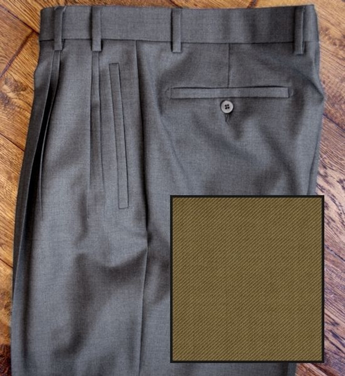 'Jesse' Four Reverse Pleat Super 120's Wool Twill Pant in Tan (Size 34) by Zanella