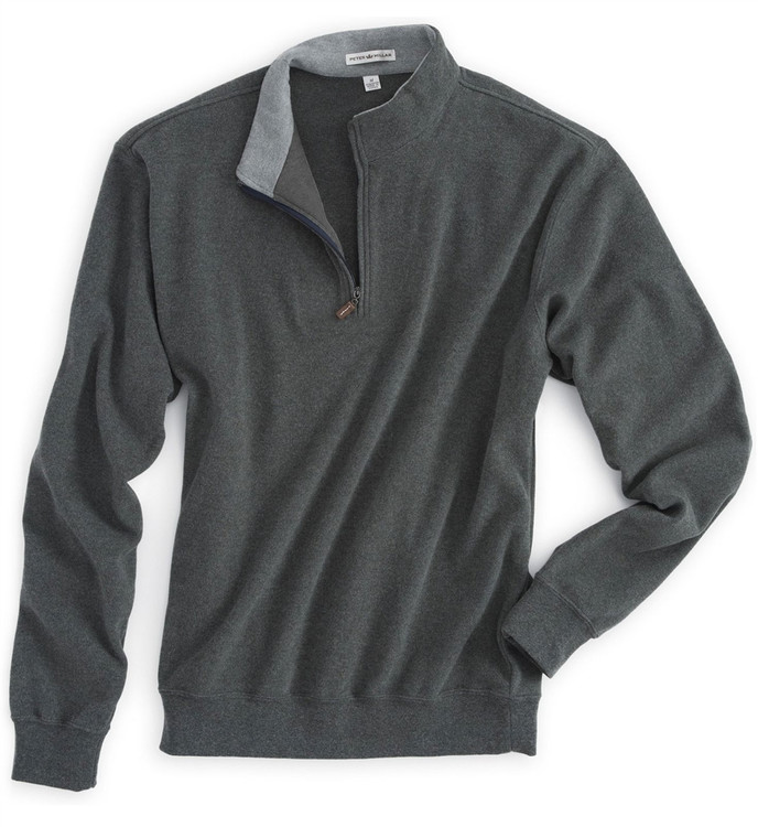 Melange Fleece Quarter-Zip Pullover in Charcoal by Peter Millar