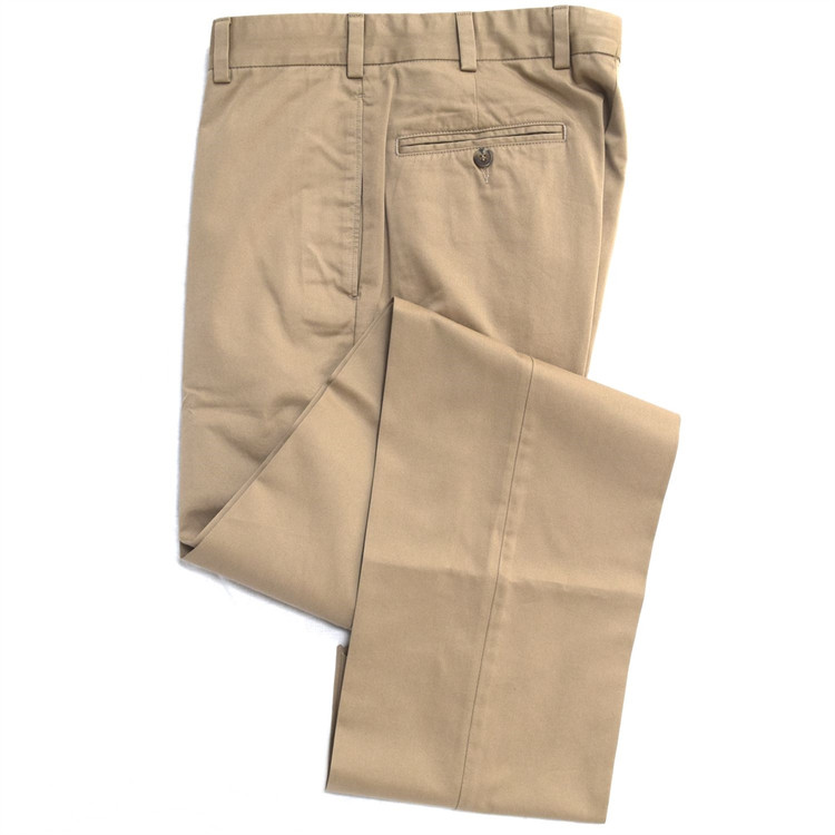 Chamois Cloth Pant - Model F2 Standard Fit Plain Front in British Tan by Hansen's Khakis