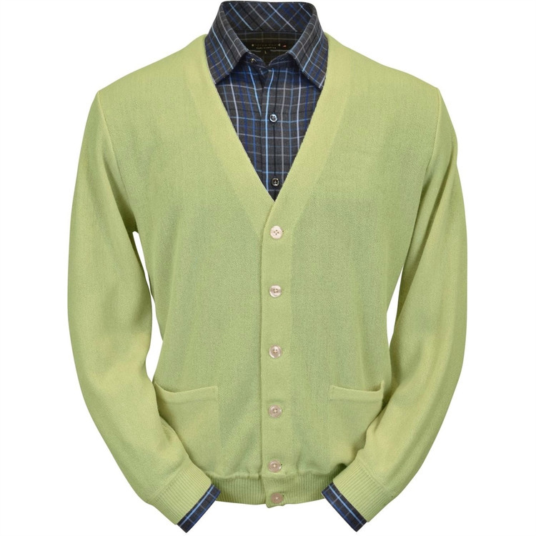 Baby Alpaca Link Stitch Cardigan Sweater in Lime by Peru Unlimited