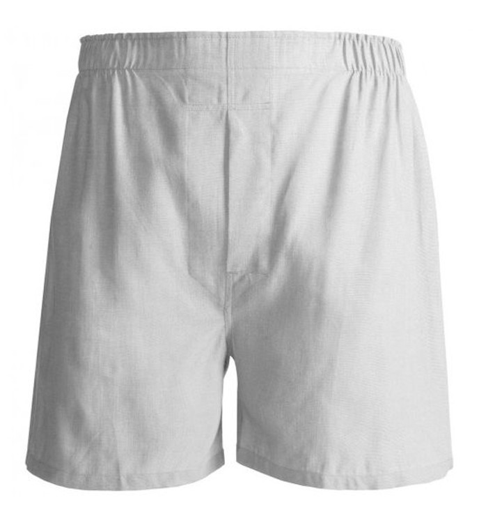 Solid Oxford Cloth Cotton Boxer in White by Tiger Mountain