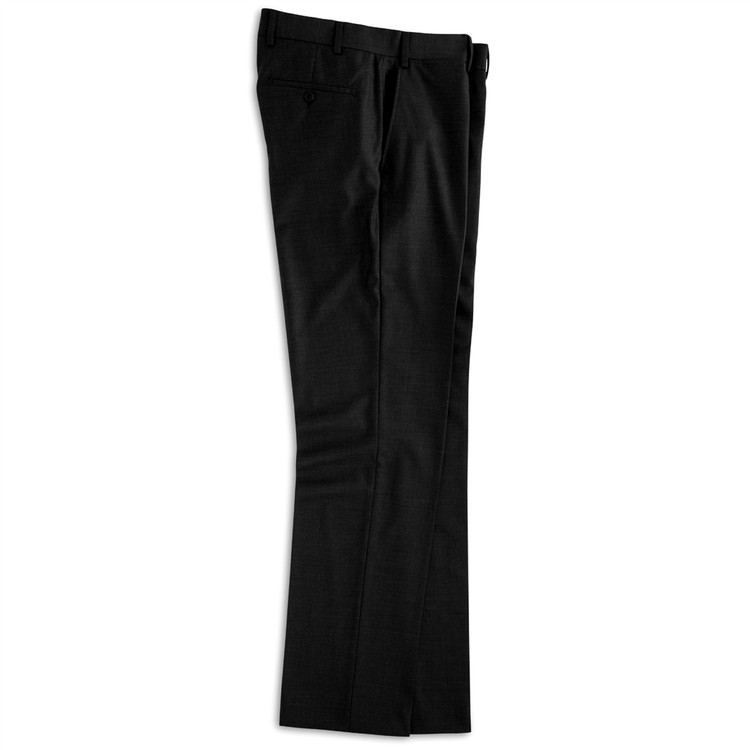 Super 110s Wool Flat Front Trouser in Black by Peter Millar