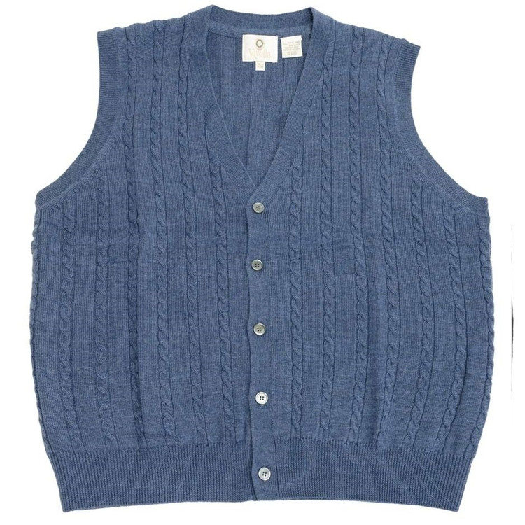 Merino Wool Cable Knit V-Neck Sweater Vest in Indigo by Viyella