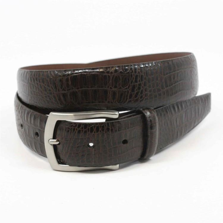 Alligator Embossed Glazed Calfskin Belt in Brown by Torino Leather Co.