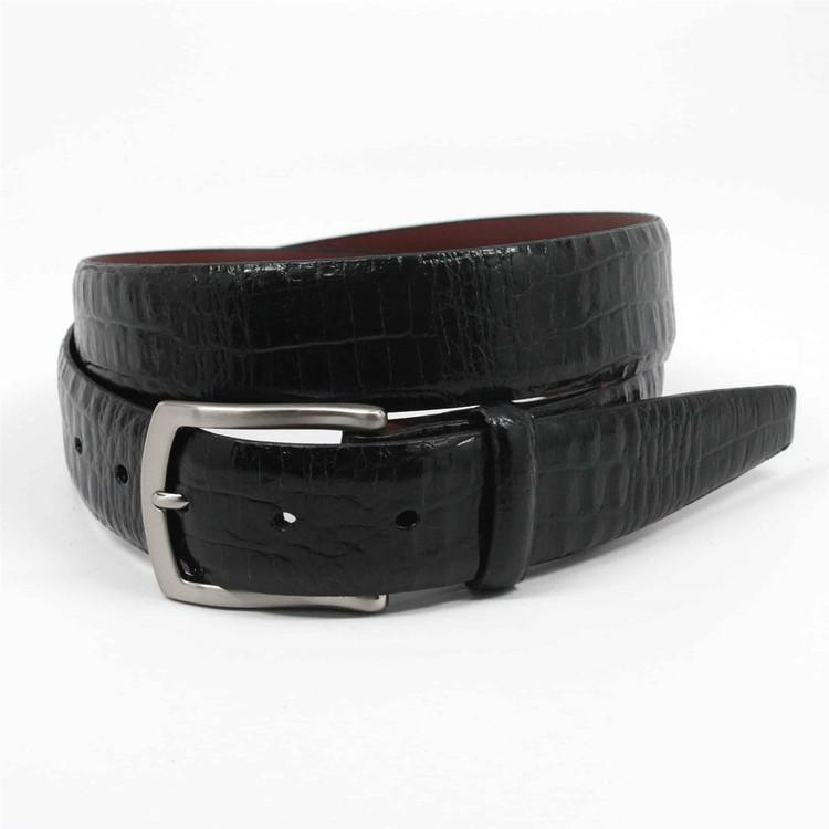 Alligator Embossed Glazed Calfskin Belt in Black by Torino Leather Co.