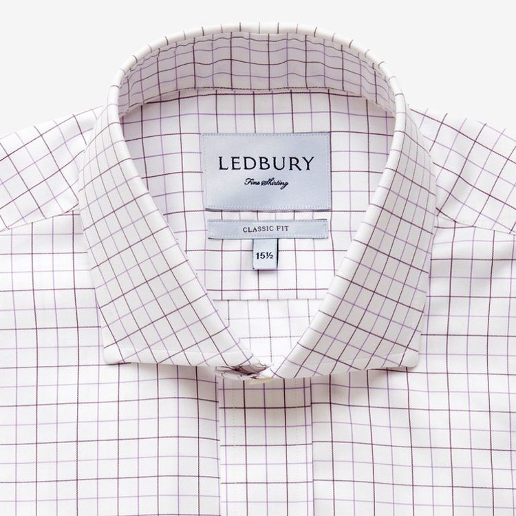 The Purple Lombardy Windowpane Dress Shirt by Ledbury
