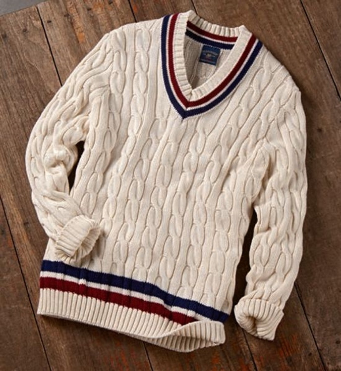 Cotton Tennis Sweater in Cream Classic (Size XX-Large) by Bills Khakis