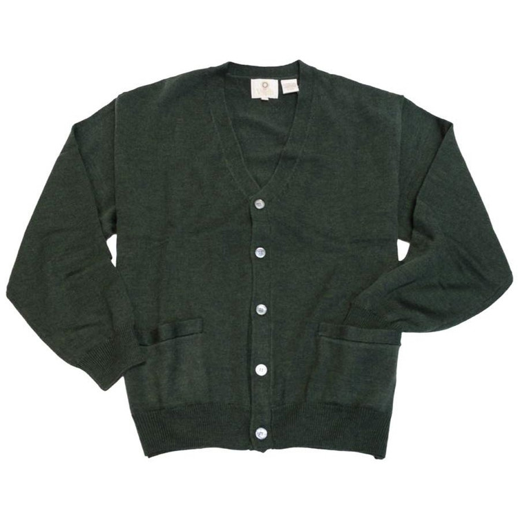 Merino Wool Button-Front V-Neck Cardigan Sweater in Dark Green by Viyella