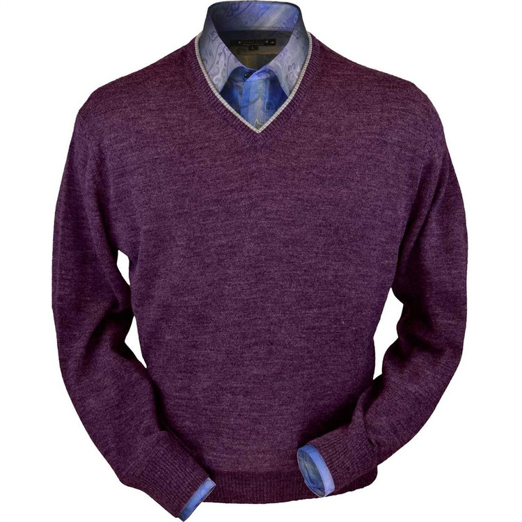 Royal Alpaca V-Neck Sweater in Plum Heather by Peru Unlimited