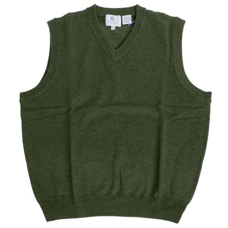 Merino Wool V-Neck Sleeveless Sweater in Dark Green by Viyella