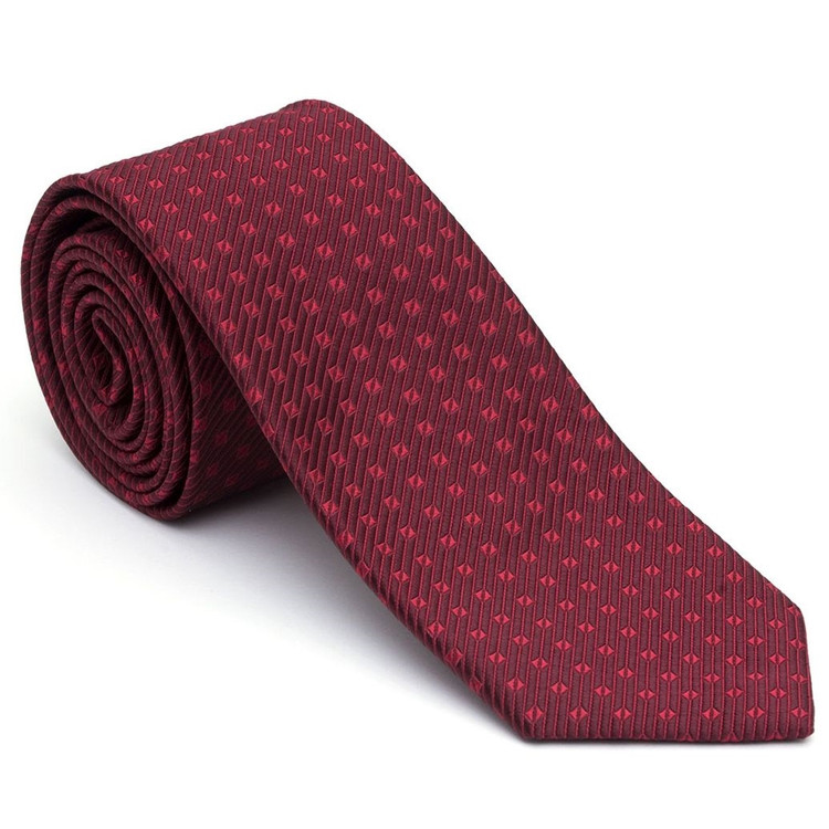 Burgundy and Red Geometric 'Post Ranch' Silk Estate Tie by Robert Talbott