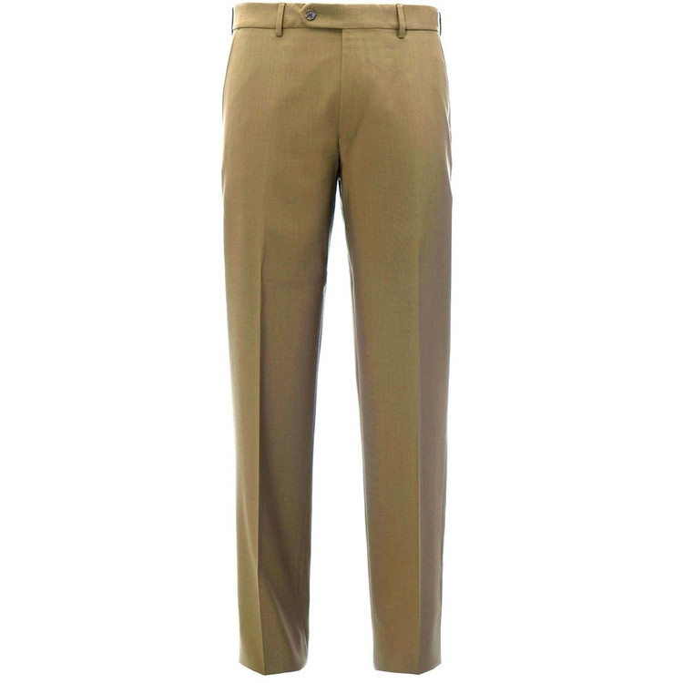'Columbus' Super 140's Natural Stretch Trouser in Khaki by Hiltl