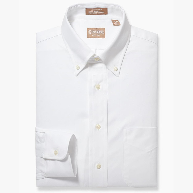 Pinpoint Dress Shirt with Button Down Collar in White by Gitman Brothers