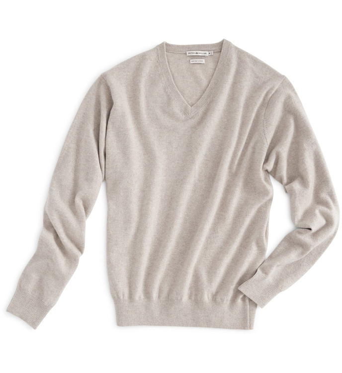 Pure Cashmere Classic V-Neck Sweater in Harvest (Size Medium) by Peter Millar