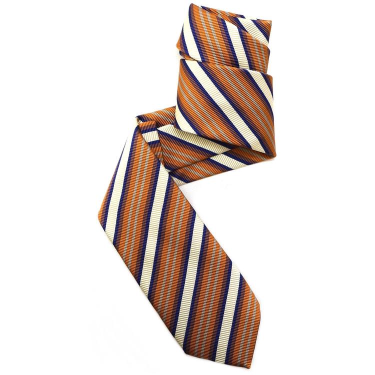 Dark Orange, Cream, Navy, and Pale Aqua Mogador Stripe Woven Silk Tie by Robert Jensen