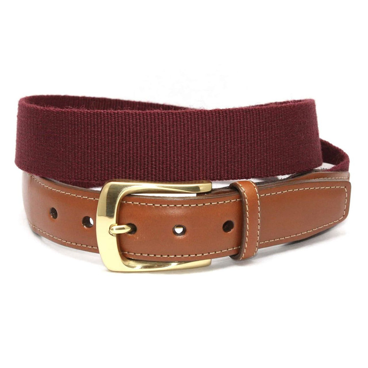 European Ribbed Surcingle Belt in Burgundy by Torino Leather Co.