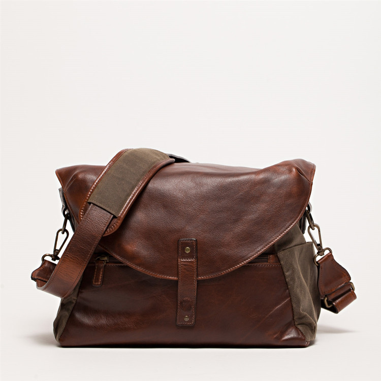 Lew Camera Bag in Waxwear Rangertan and Titan Milled Brown by Moore & Giles