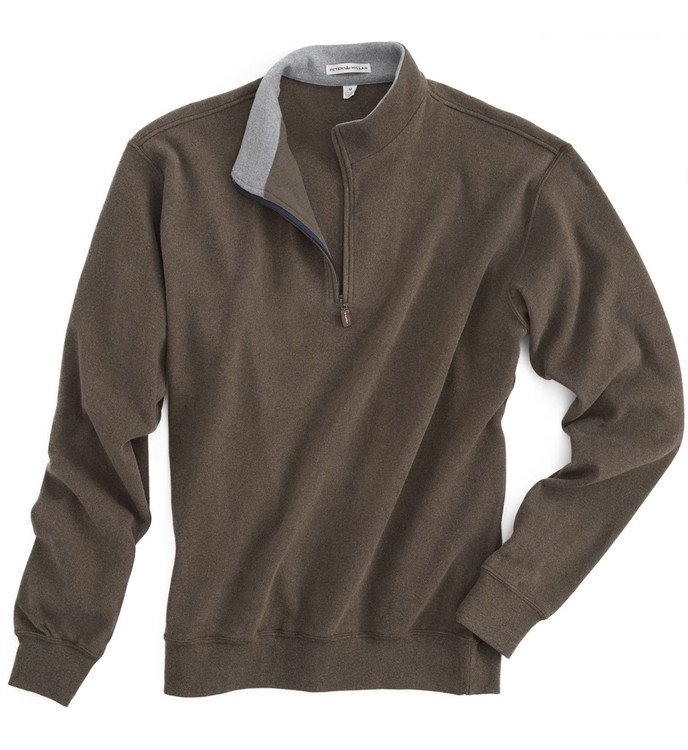 Melange Fleece Quarter-Zip Pullover in Wicker (Size XX-Large) by Peter Millar