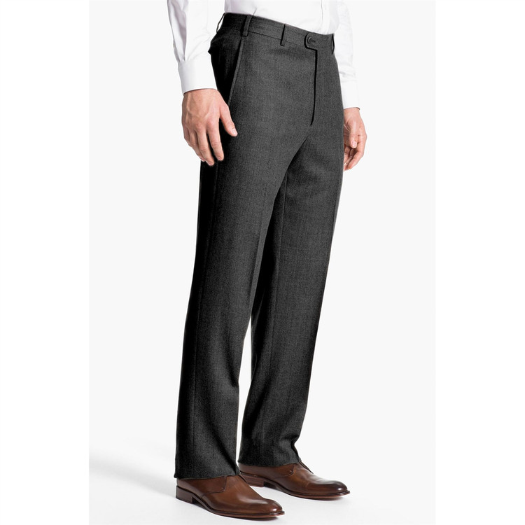 'Todd' Flat Front Wool Flannel Pant in Charcoal by Zanella
