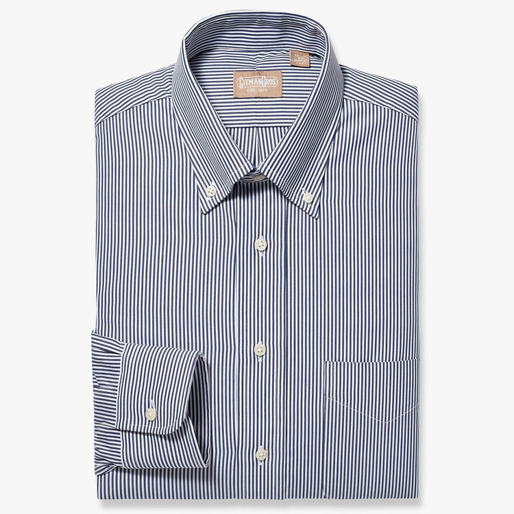 Bengal Stripe Broadcloth Shirt in Navy by Gitman Brothers