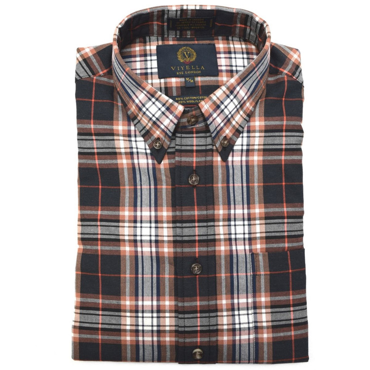 Chestnut, Black, and Navy Plaid Button-Down Shirt by Viyella