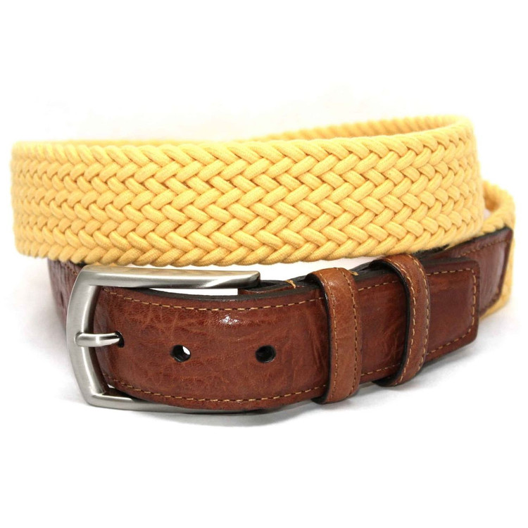Italian Woven Cotton Elastic Belt in Yellow by Torino Leather Co.