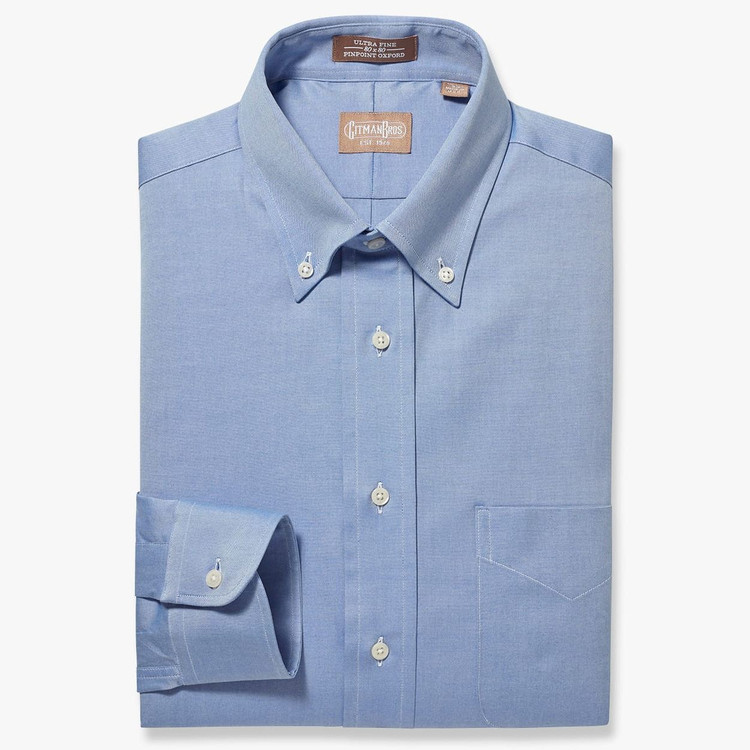 Pinpoint Dress Shirt with Button Down Collar in Blue by Gitman Brothers