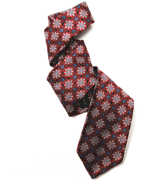 Black and Red Floral Geometric 'Florentine' Seven Fold Silk Tie by Robert Talbott