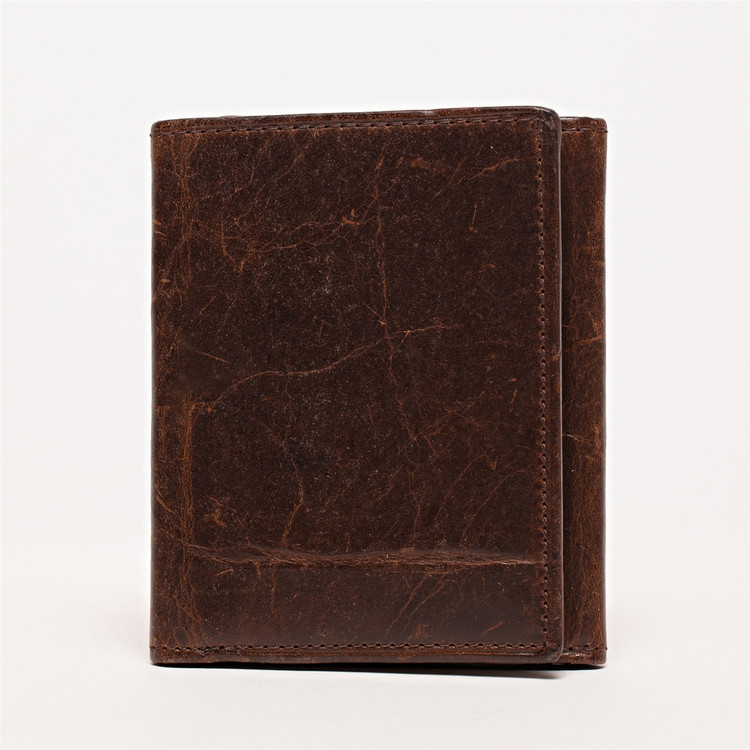 Tri-Fold Leather Wallet in Brompton Brown by Moore & Giles
