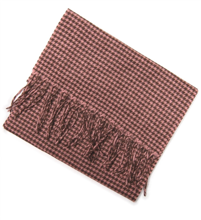 Brown and Pink Houndstooth Woven Cashmere Scarf by Peter Millar