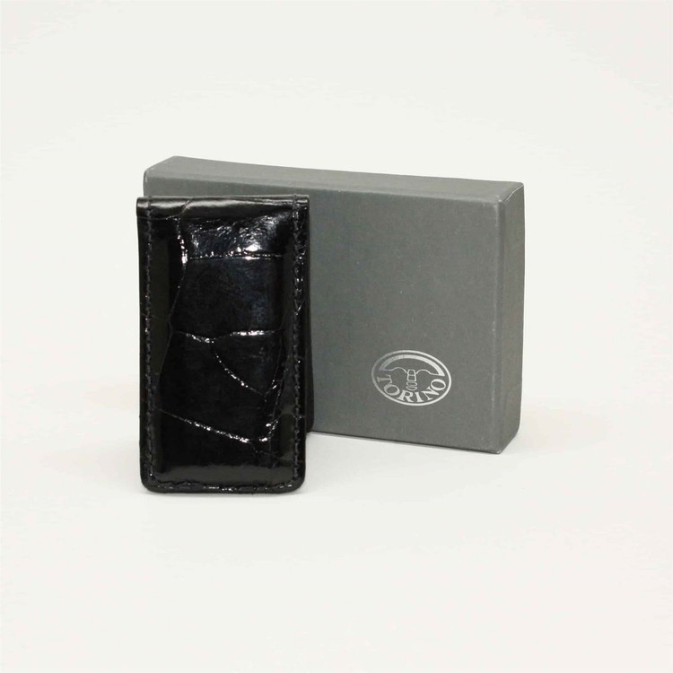 Alligator Magnetic Money Clip in Black  by Torino Leather Co.