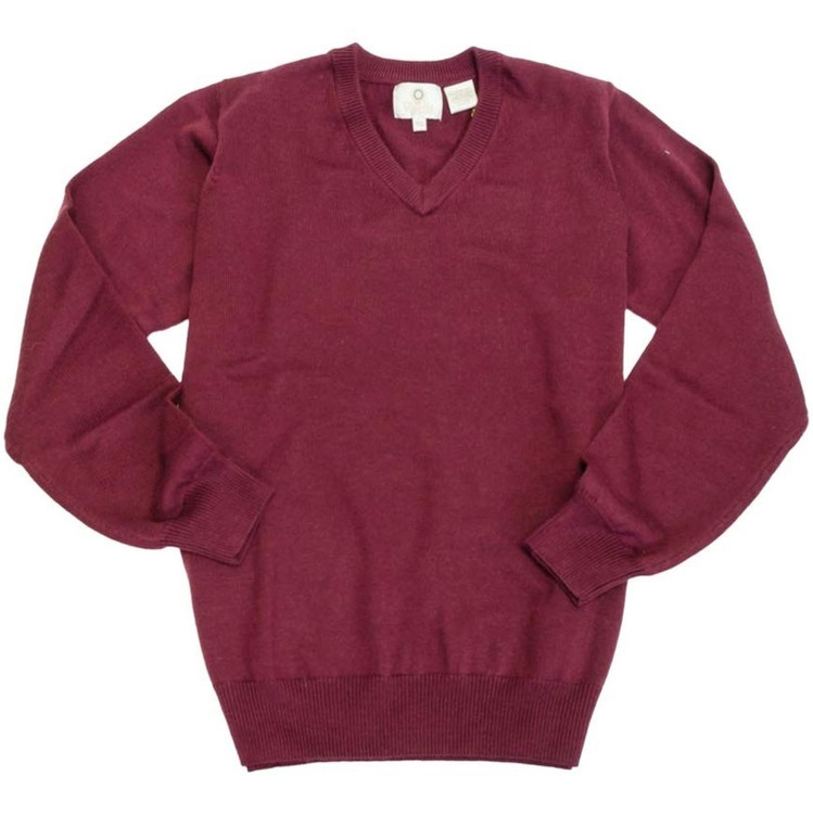 Merino Wool V-Neck Sweater in Port by Viyella
