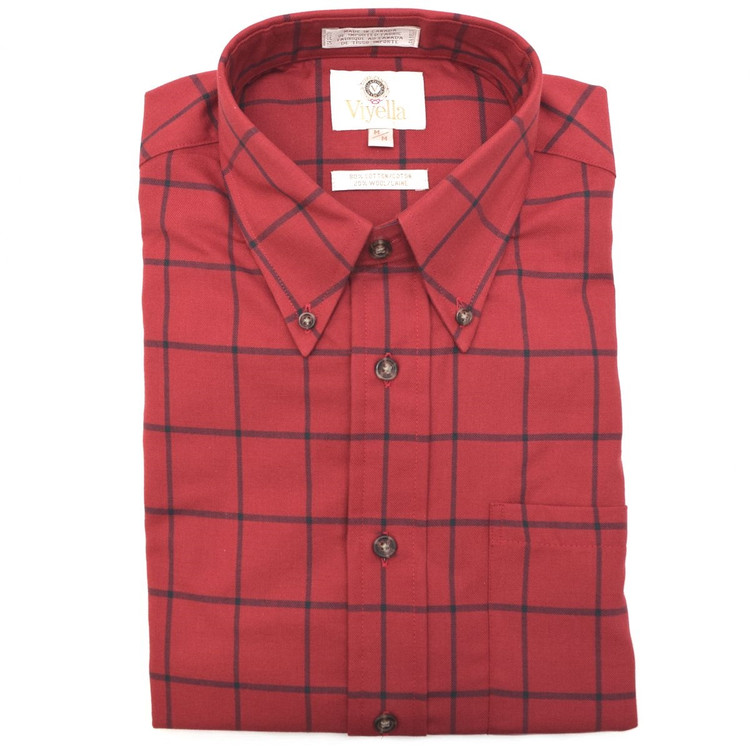 Red Windowpane Check Button-Down Shirt by Viyella