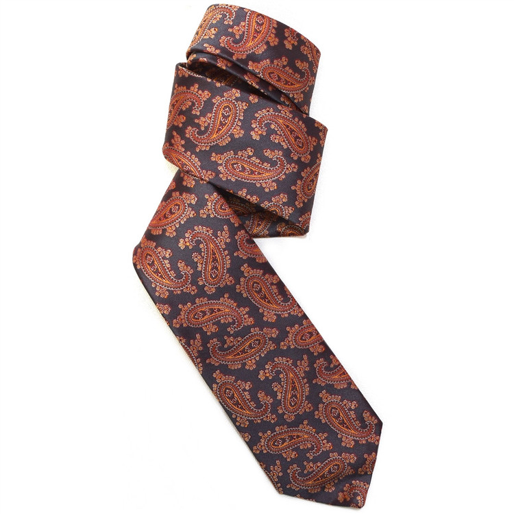 Grey, Orange, and Red Paisley Woven Silk Tie by Robert Jensen