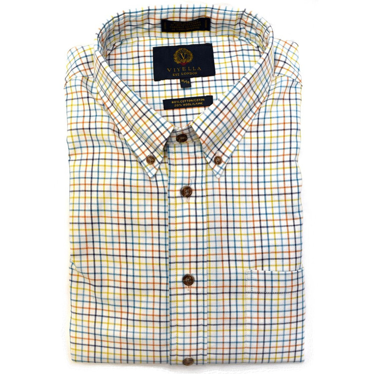 Aqua, Navy, Orange, and Mustard Plaid Shirt by Viyella