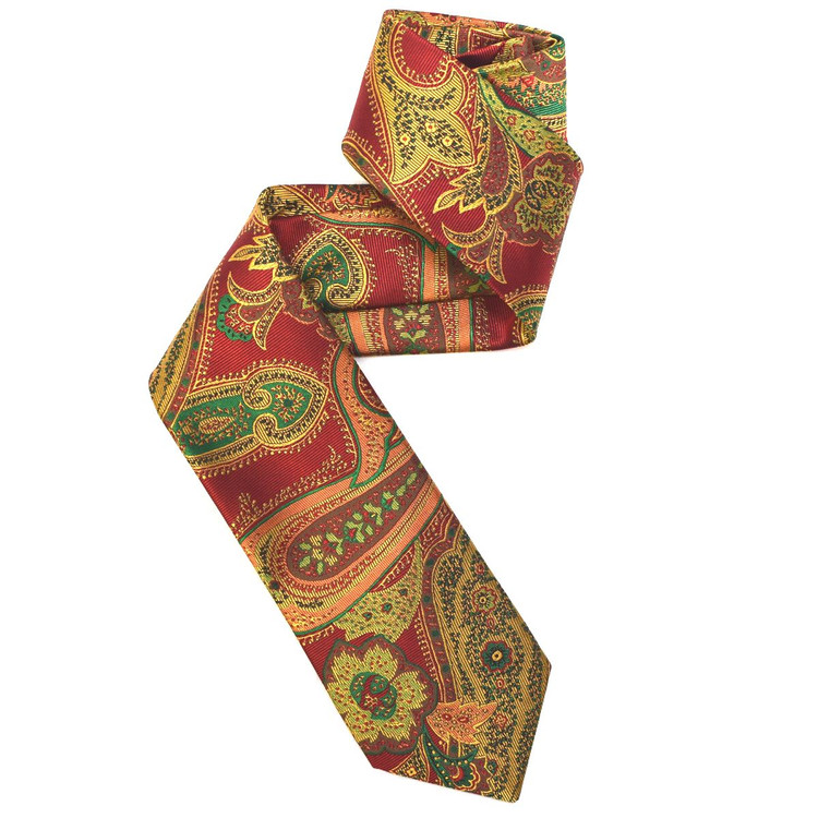 Red, Gold, and Green Paisley Woven Silk Tie by Robert Jensen